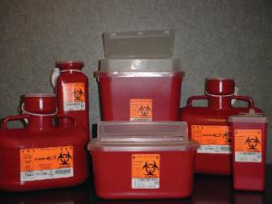 Sharps container systems, red